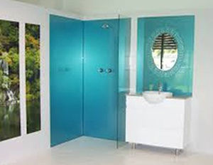 bright turquoise tile installed in a shower